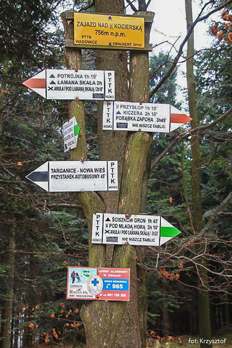 Drogowskazy szlaków przy Zajezdzie nad Przełęczą Kocierską