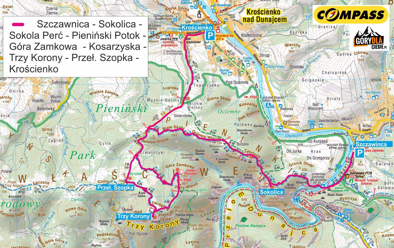 Sokolica i Trzy Korony mapa