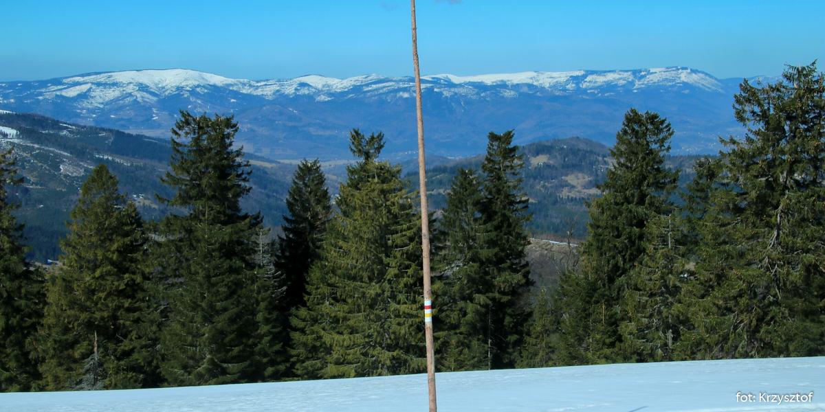 Beskid Śląski od Baraniej Góry po Skrzyczne - widok znad Przełęczy Pawlusiej