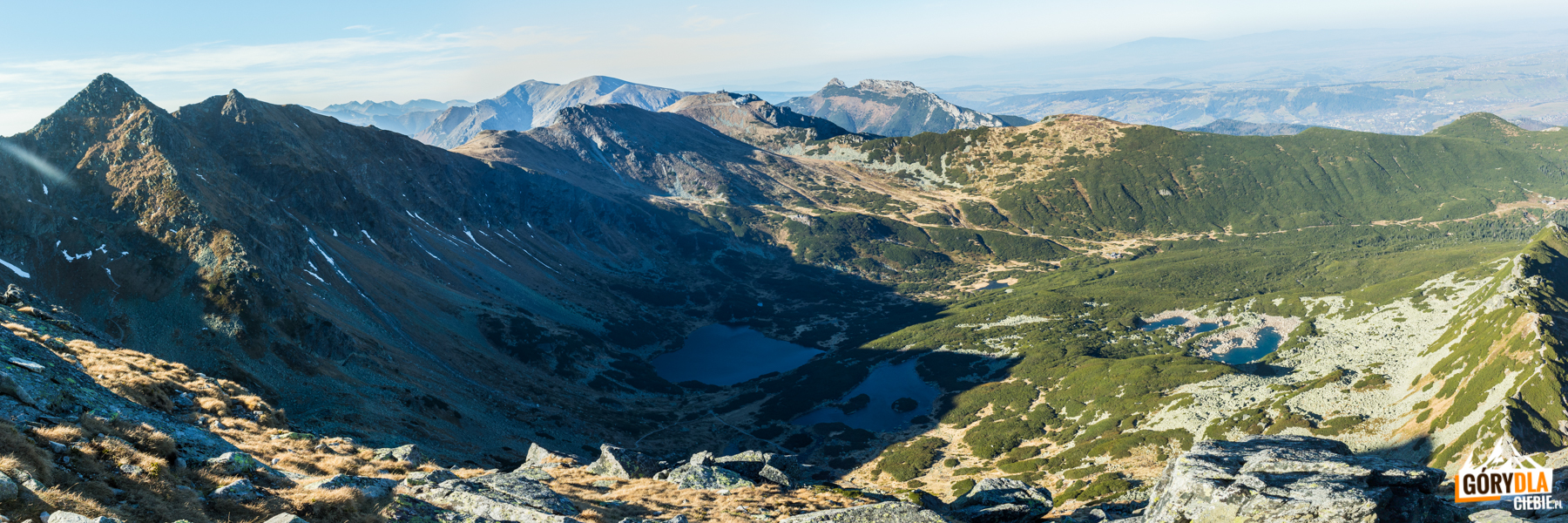 Widok na Kasprowy Wierch i Giewont ze szczytu Kościelca (2155 m)