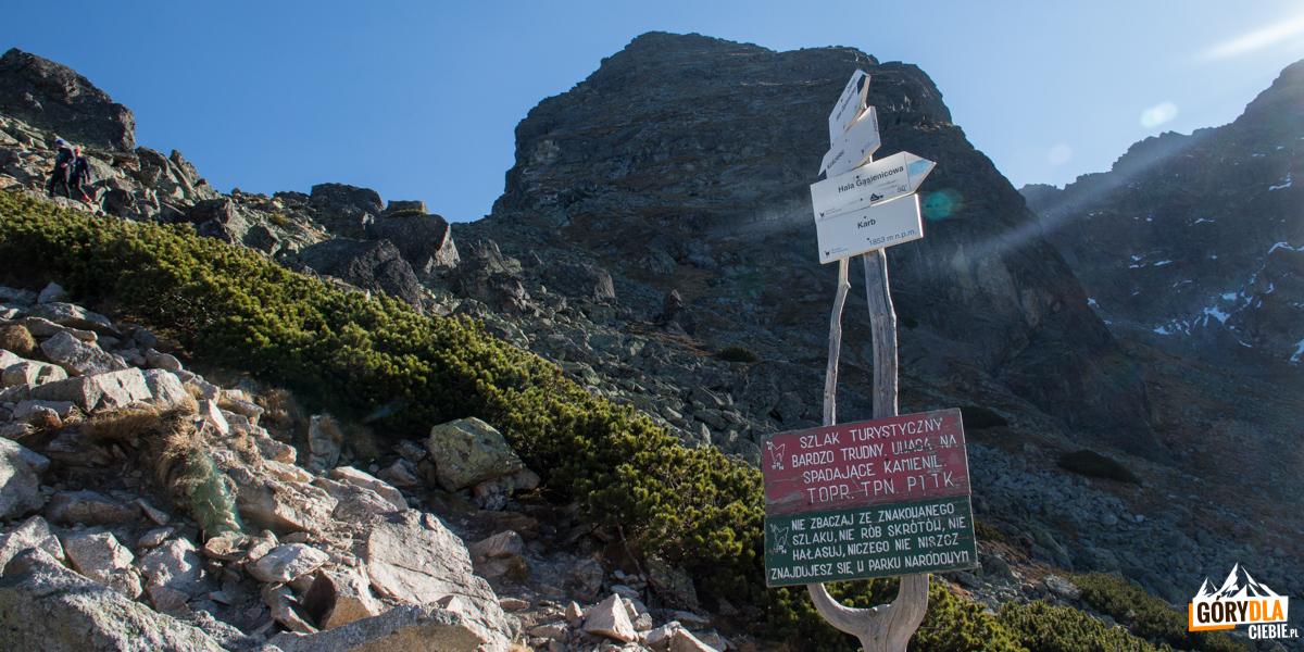 Tablice ostrzegające o trudnościach szlaku