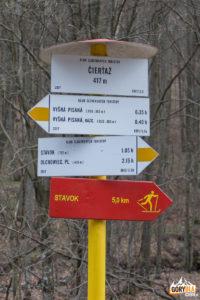 Drogowskazy szlaków powyżej wsi Vyšná Pisaná (tzw. Čierťaž).