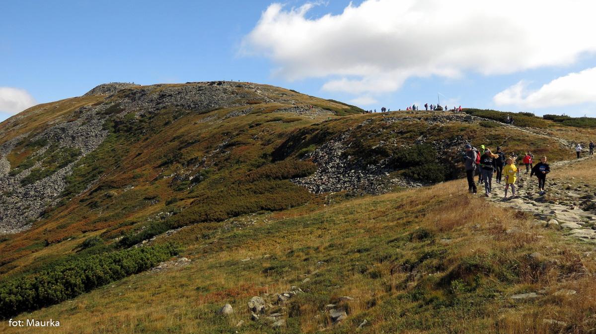 Szczyt Babiej Góry widziany znad Przełęczy Brona