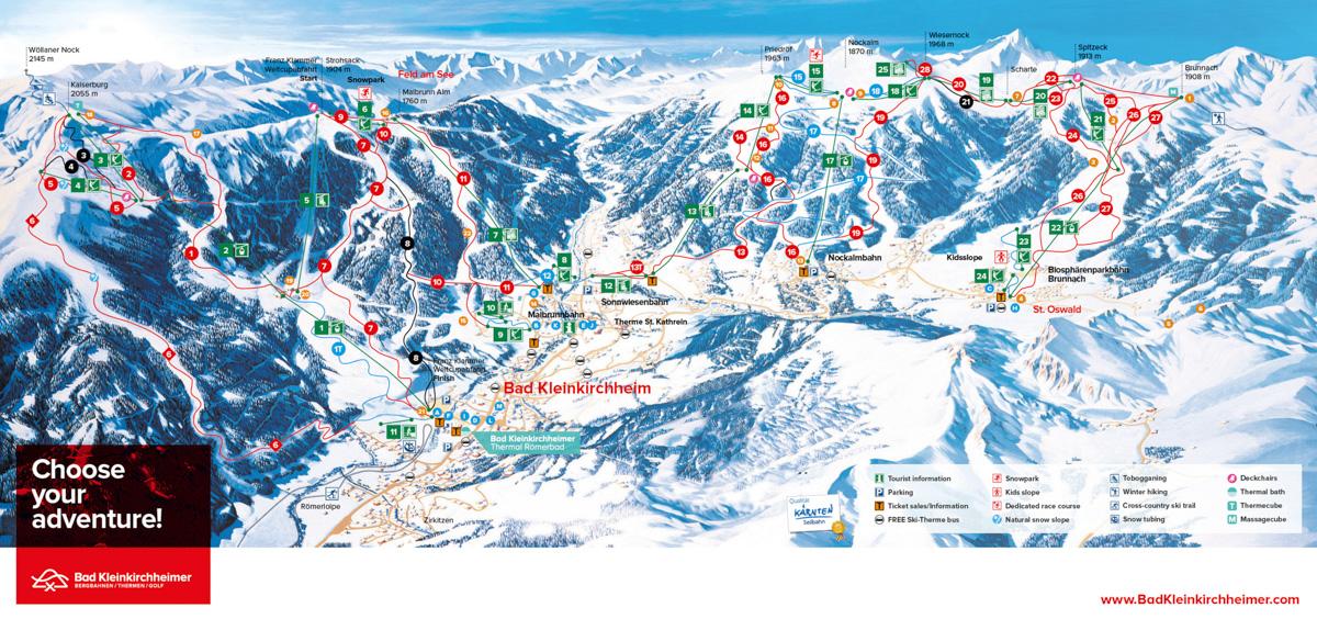 Interaktywna mapa regionu Bad Kleinkirchheim to różnorodny i przyjazny rodzinom region narciarski w austriackich Górach Nockberge (Alpy Gurktalskie) w Karyntii. Ponad 100 km tras narciarskich o wszystkich trudnościach poprowadzonych jest na wysokości od 1100 m n.p.m. do 2055 m n.p.m., a sprawną obsługę zapewniaja 24 wyciągi i kolejki linowe. Wszyscy narciarze znajdą tu dla siebie odpowiednie stoki, a najbardziej zaawansowani mogą spróbować swoich sił na trasie Pucharu Świata w narciarstwie alpejskim. Dodatkową atrakcją regionu są baseny i spa termalne, gdzie po nartach można zrelaksować się odpocząć. Na początek rzut oka na mapę regionu Bad Kleinkirchheim