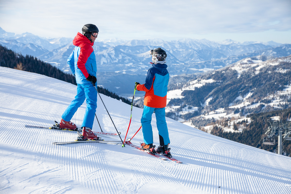 Skifahren Vater Sohn Panorama © BRM - Mathias Praegant