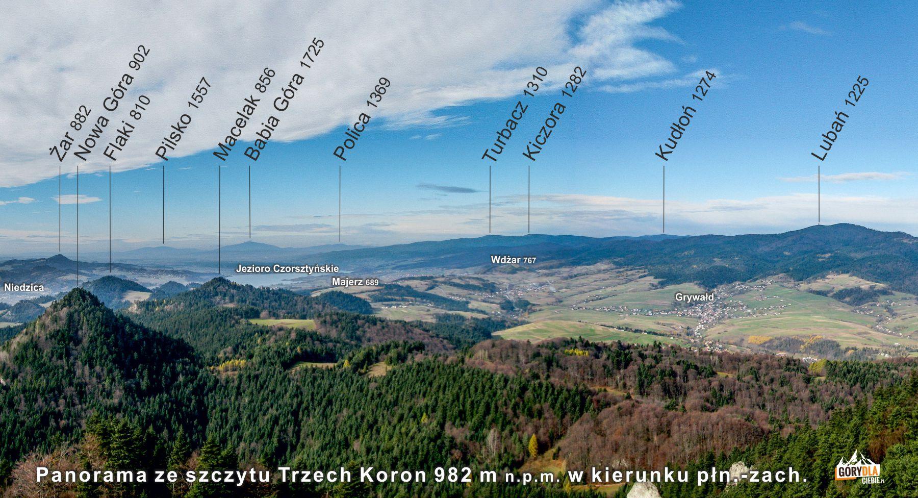 Widok ze szczytu Trzech Koron (982 m)
