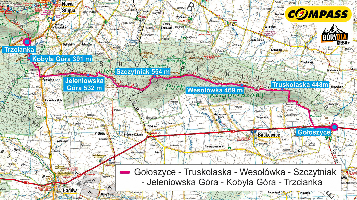 Główny Szlak Świętokrzyski z Gołoszyc do Trzcianki - mapa