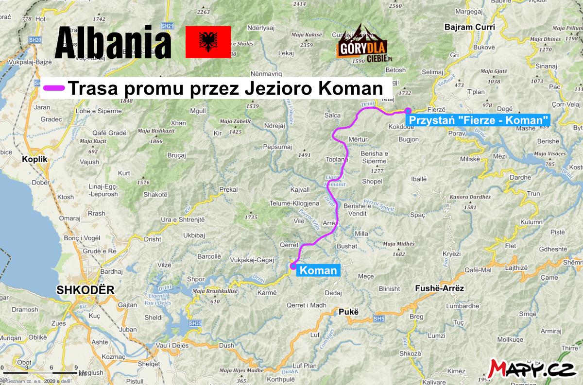 Jezioro Koman mapa
