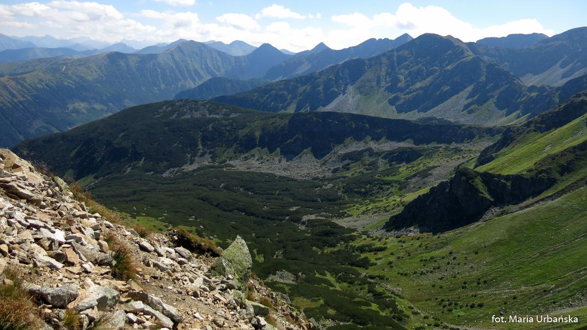 Panorama Tatr Zachodnich i Tatr Wysokich z trasy na Salatyn