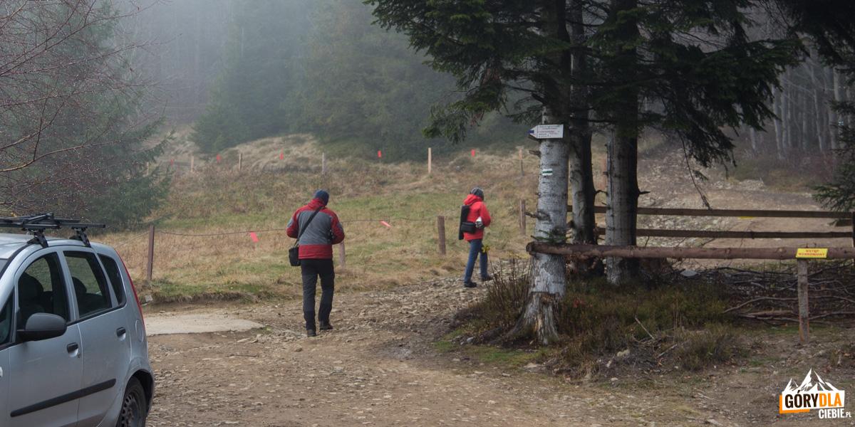 Drogowskazy szlaków na Przełęczy Klekociny