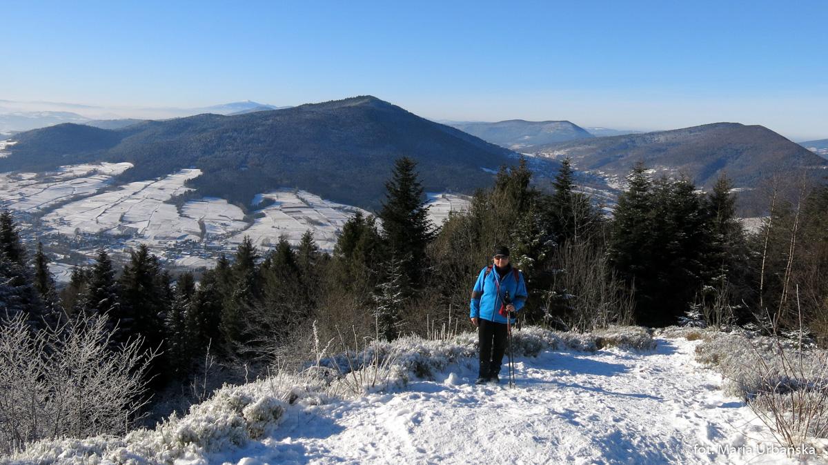 Autorka na szczycie Łopienia (na polanie Widny Zrąbek) w tle Ćwilin, śnieżnica, Lubogoszcz i babia Góra