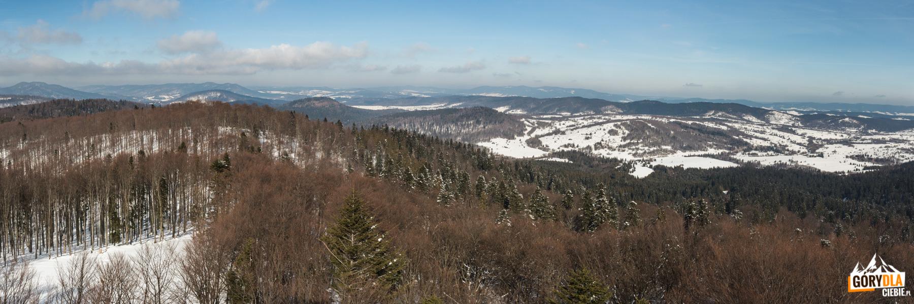 Widok z wieży na Jeleniowatym na Otryt, Czeresznię, Kiczerę Popową, Dydiowską i Łokiecką oraz pasmo Boberki i na horyzoncie Magurę Łomniańską