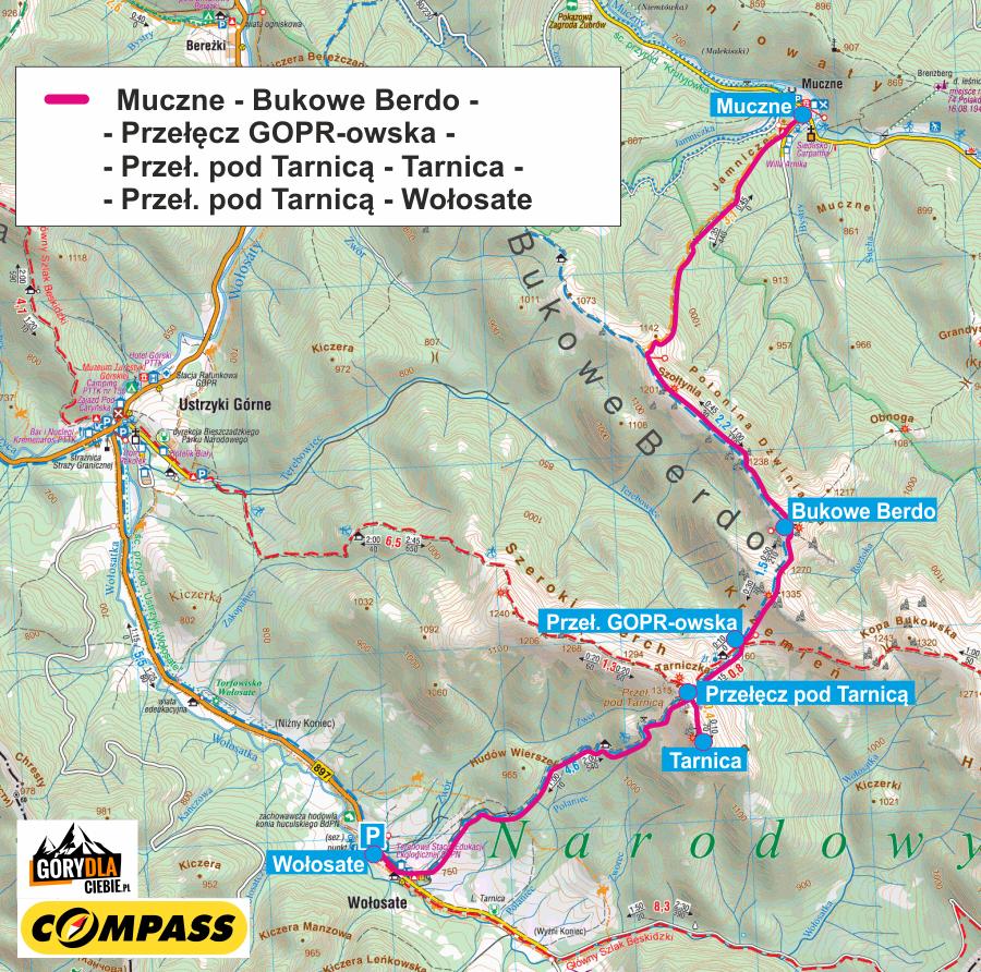 Bukowe Berdo, Tarnica - mapa trasy