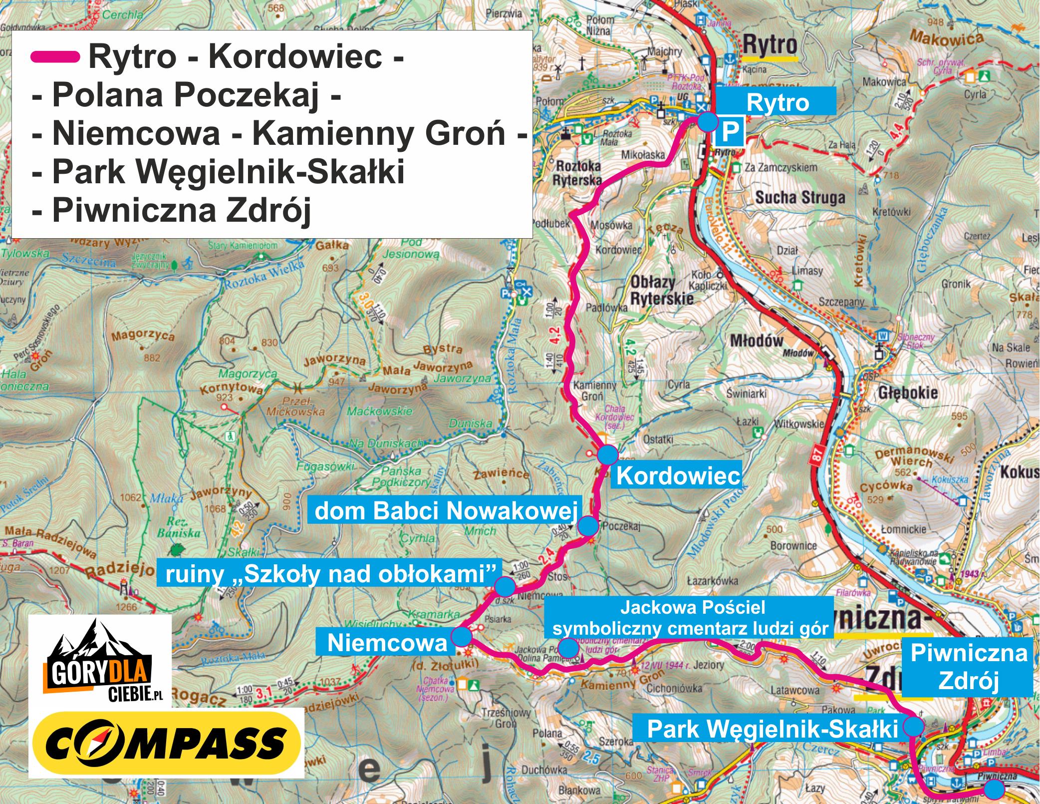 Niemcowa z Rytra do Piwnicznej - mapa wycieczki