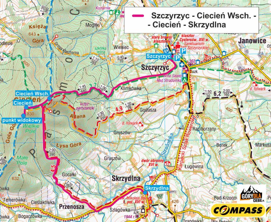 Ciecień ze Szczyrzyca do Skrzydlnej - mapa trasy
