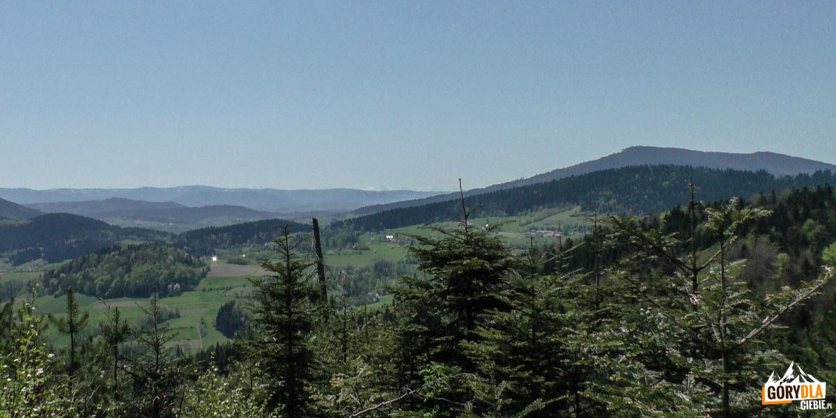 Szczyty Tatr nad pasmem Gorców i po prawej Lubogoszcz, widziane z zejścia z Cietnia do Skrzydlnej