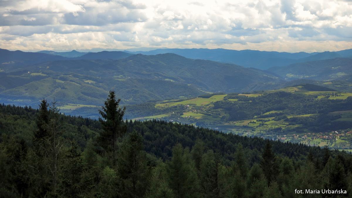 Widok z wieży na Modyni na Koziarz (943 m), po lewej Wysoka (1050 m) w Małych Pieninach, po prawej Pieniny Właściwe